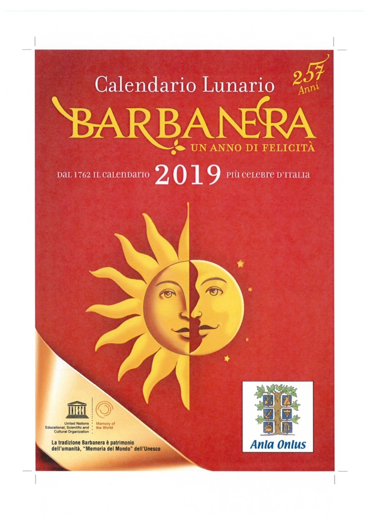 La copertina del calendario 2019 Barbanera per ANLA